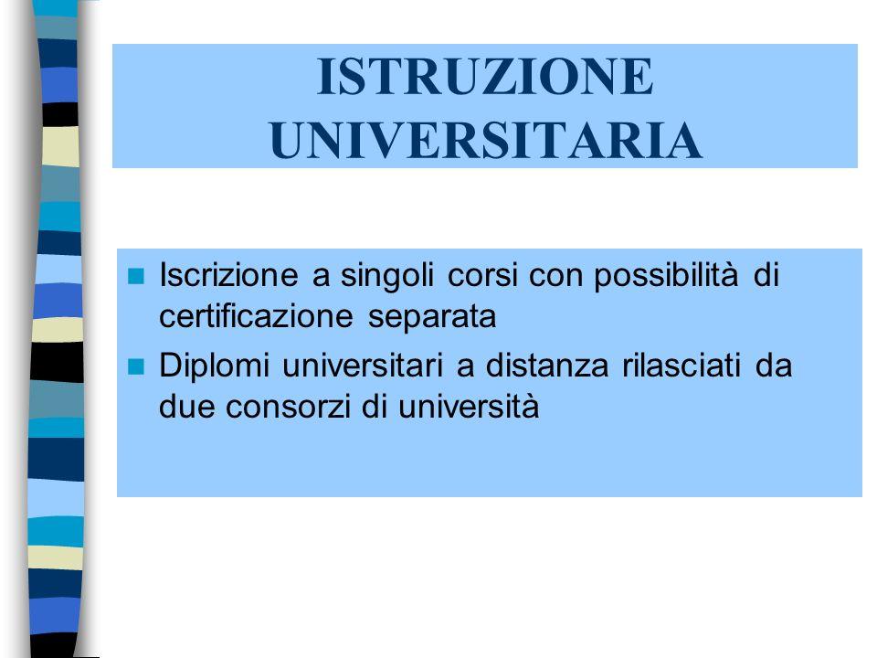 ISTRUZIONE UNIVERSITARIA Iscrizione a singoli corsi con possibilità di certificazione separata Diplomi universitari a distanza rilasciati da due consorzi di università