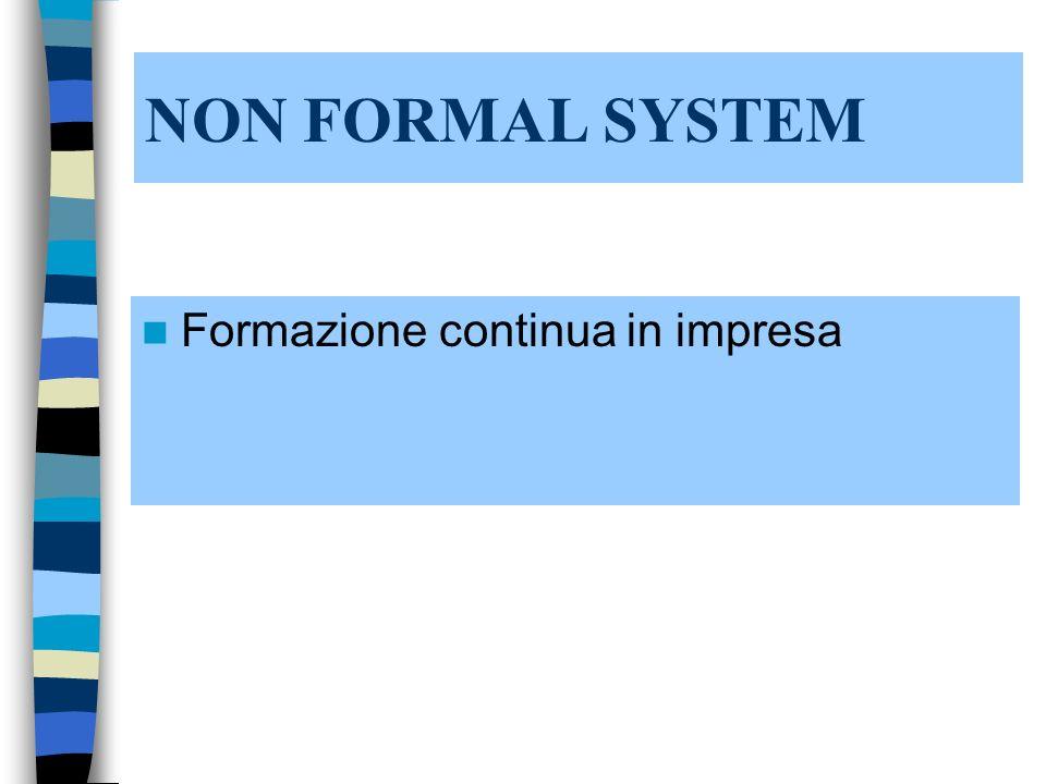 NON FORMAL SYSTEM Formazione continua in impresa