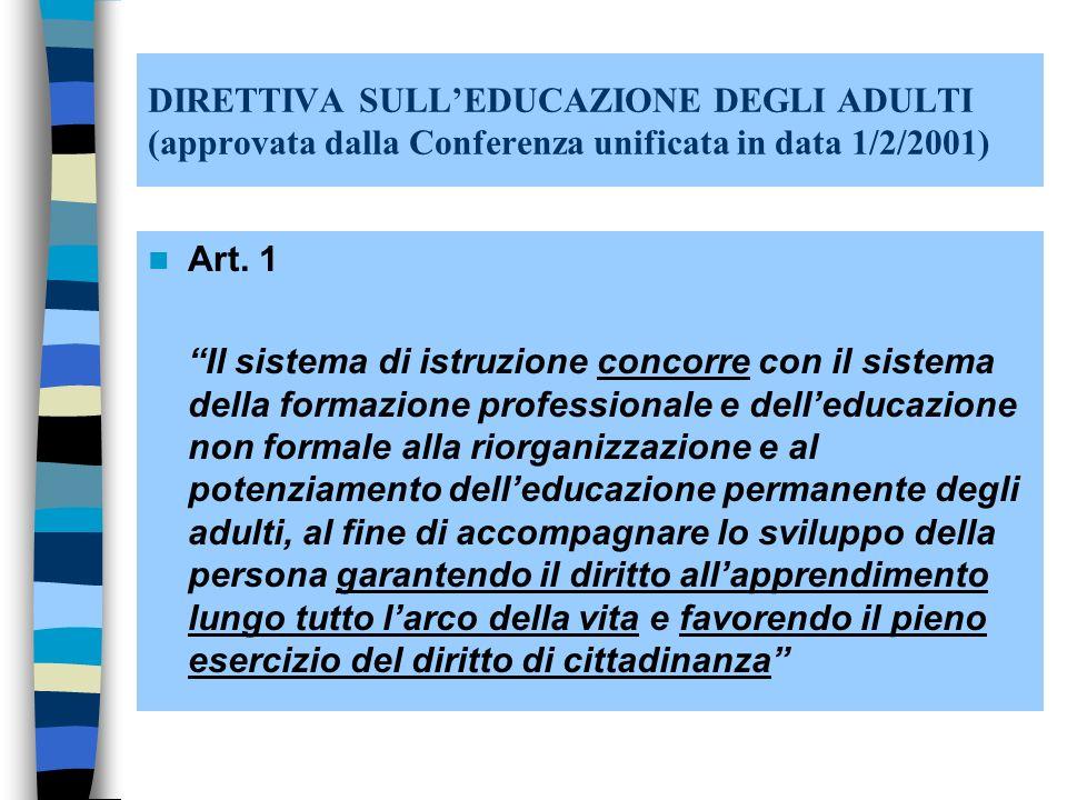DIRETTIVA SULLEDUCAZIONE DEGLI ADULTI (approvata dalla Conferenza unificata in data 1/2/2001) Art.