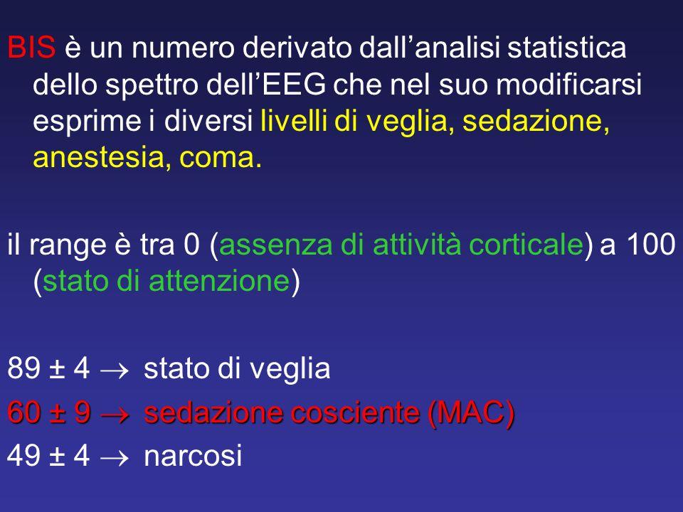 BIS è un numero derivato dallanalisi statistica dello spettro dellEEG che nel suo modificarsi esprime i diversi livelli di veglia, sedazione, anestesi
