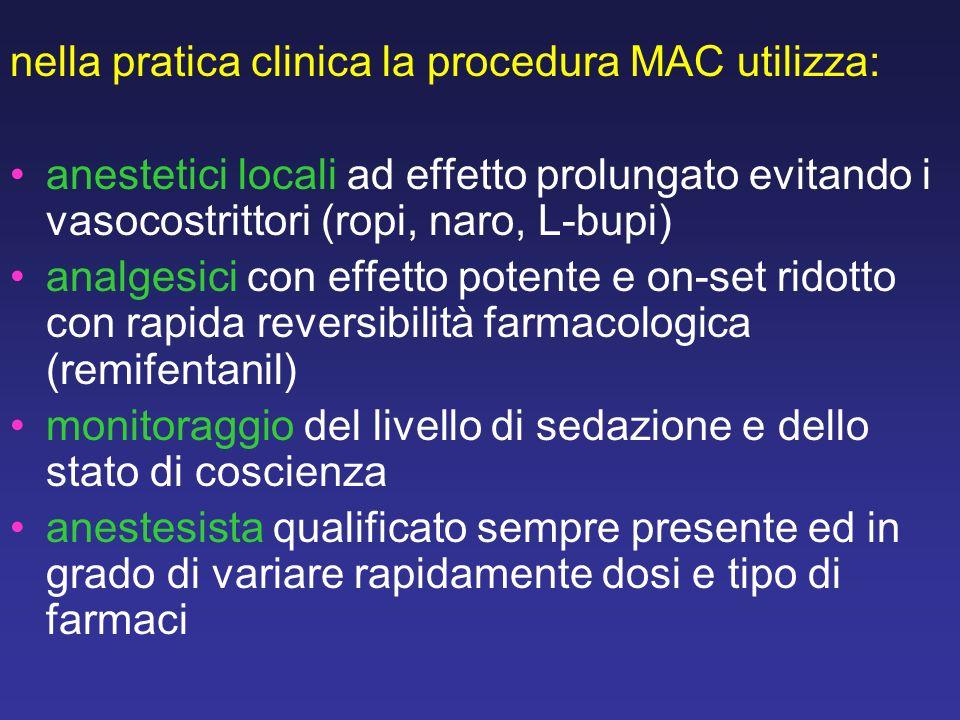 nella pratica clinica la procedura MAC utilizza: anestetici locali ad effetto prolungato evitando i vasocostrittori (ropi, naro, L-bupi) analgesici co