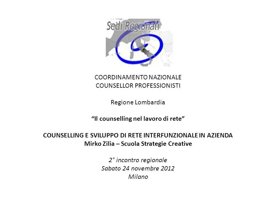 COORDINAMENTO NAZIONALE COUNSELLOR PROFESSIONISTI Regione Lombardia Il counselling nel lavoro di rete COUNSELLING E SVILUPPO DI RETE INTERFUNZIONALE I