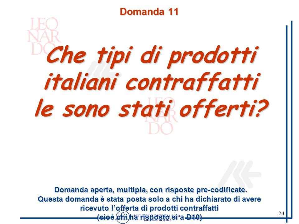 24 Domanda 11 Che tipi di prodotti italiani contraffatti le sono stati offerti? Domanda aperta, multipla, con risposte pre-codificate. Questa domanda