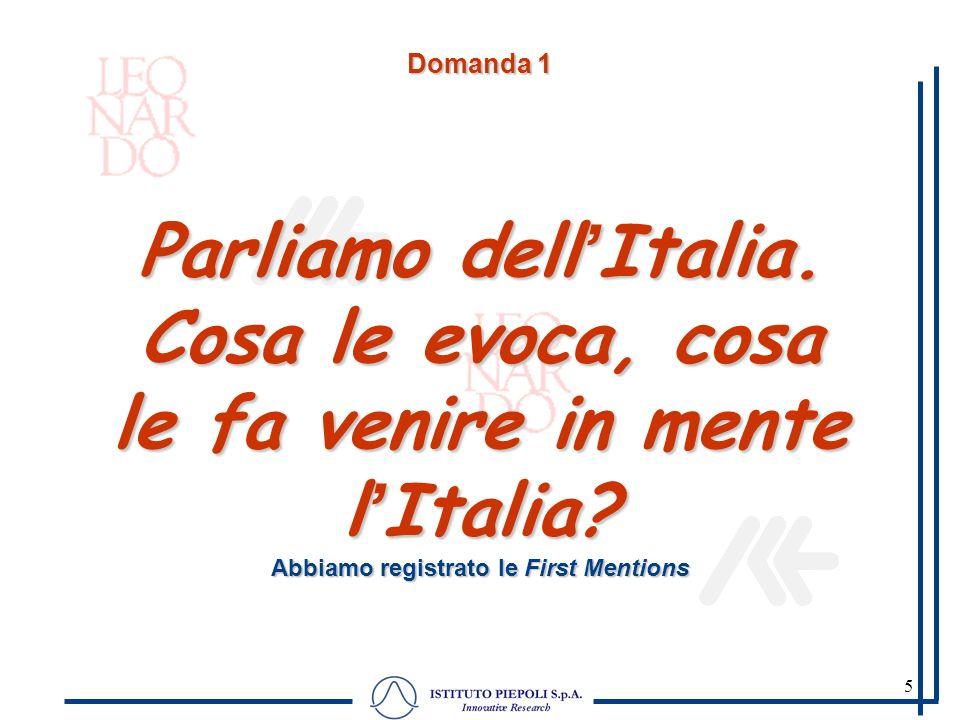 5 Domanda 1 Parliamo dellItalia. Cosa le evoca, cosa le fa venire in mente lItalia? Abbiamo registrato le First Mentions