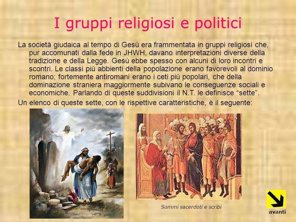 I gruppi religiosi e politici La società giudaica al tempo di Gesù era frammentata in gruppi religiosi che, pur accomunati dalla fede in JHWH, davano