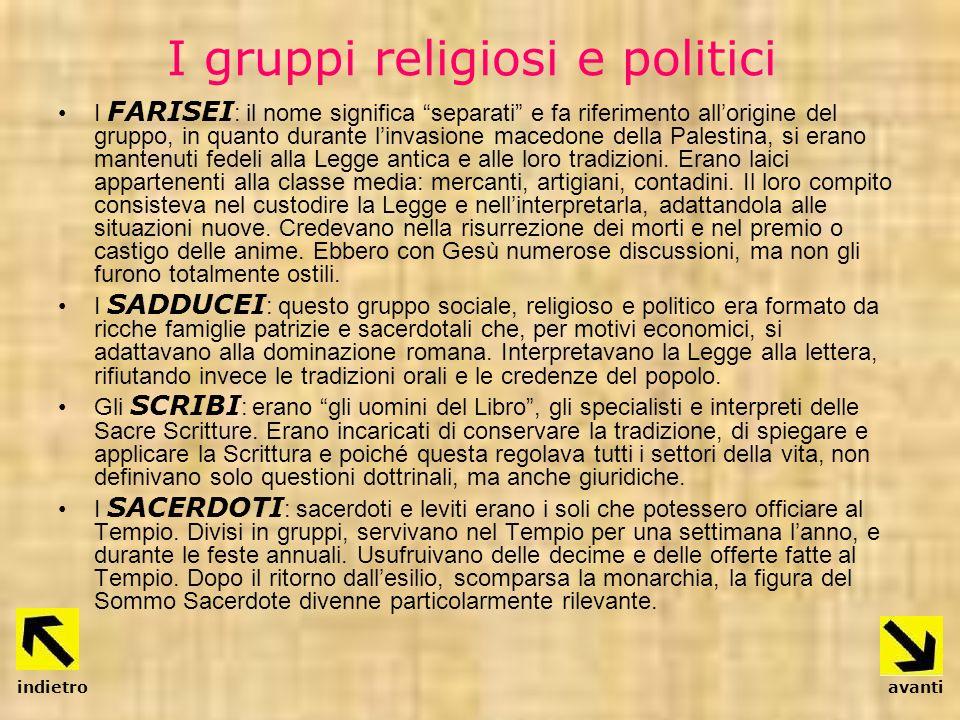 I gruppi religiosi e politici I FARISEI : il nome significa separati e fa riferimento allorigine del gruppo, in quanto durante linvasione macedone del