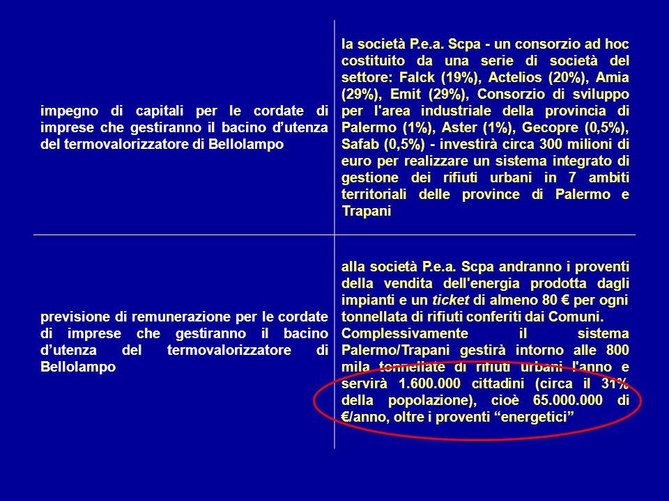 impegno di capitali per le cordate di imprese che gestiranno il bacino dutenza del termovalorizzatore di Bellolampo la società P.e.a. Scpa - un consor