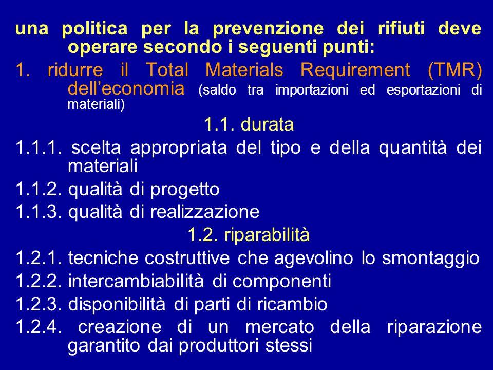 una politica per la prevenzione dei rifiuti deve operare secondo i seguenti punti: 1. ridurre il Total Materials Requirement (TMR) delleconomia (saldo