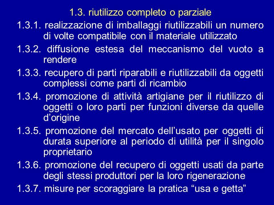 1.3. riutilizzo completo o parziale 1.3.1. realizzazione di imballaggi riutilizzabili un numero di volte compatibile con il materiale utilizzato 1.3.2