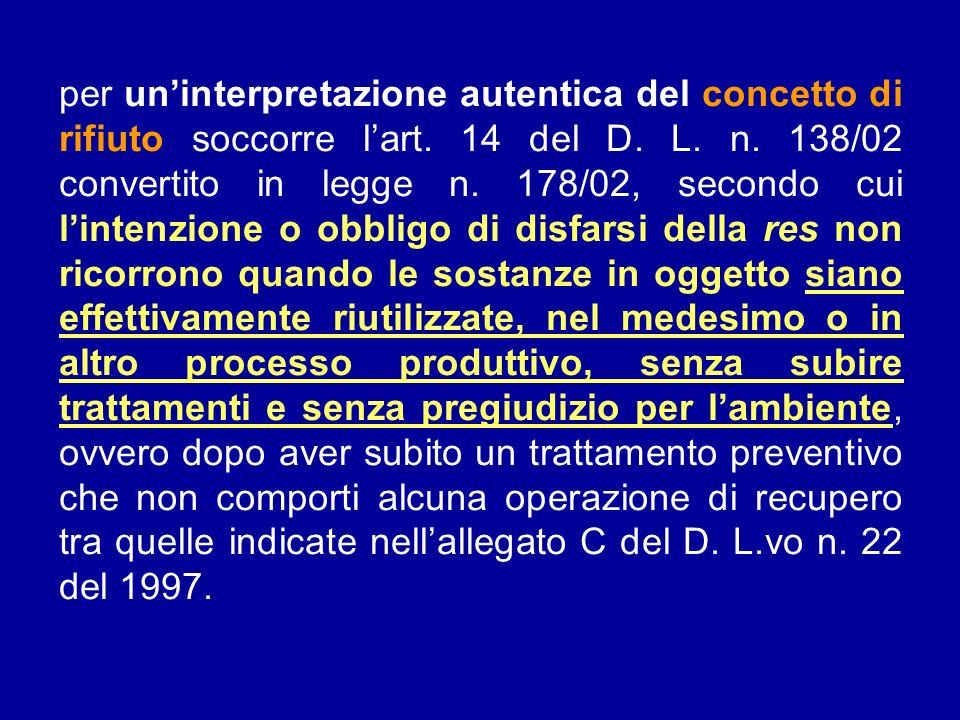 per uninterpretazione autentica del concetto di rifiuto soccorre lart. 14 del D. L. n. 138/02 convertito in legge n. 178/02, secondo cui lintenzione o