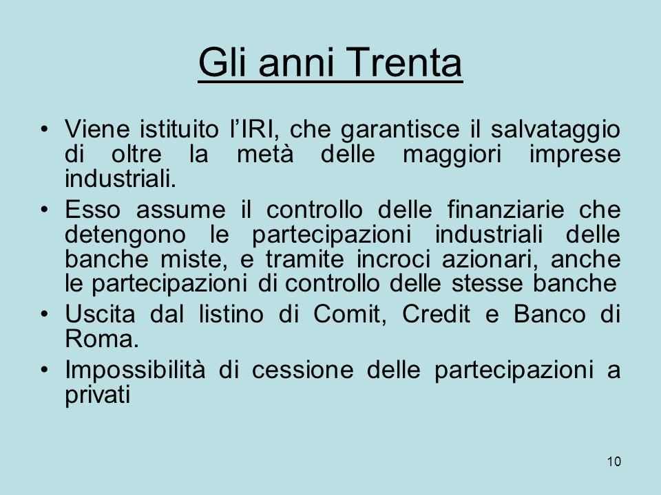10 Gli anni Trenta Viene istituito lIRI, che garantisce il salvataggio di oltre la metà delle maggiori imprese industriali. Esso assume il controllo d