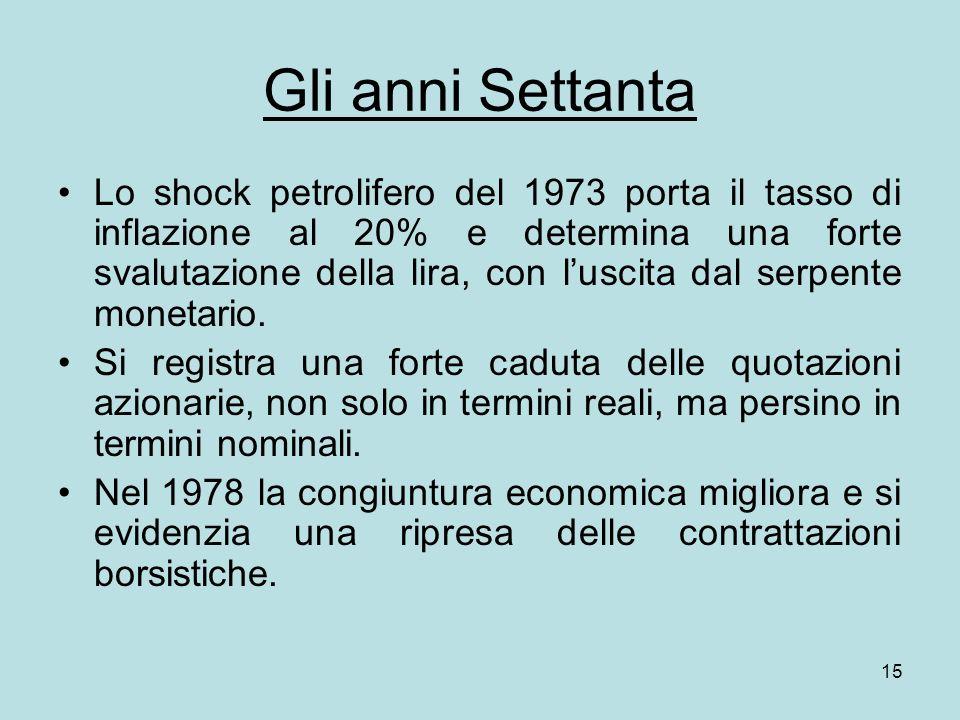 15 Gli anni Settanta Lo shock petrolifero del 1973 porta il tasso di inflazione al 20% e determina una forte svalutazione della lira, con luscita dal