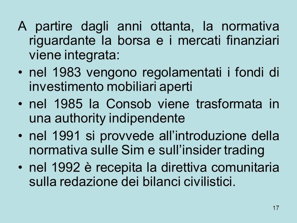 17 A partire dagli anni ottanta, la normativa riguardante la borsa e i mercati finanziari viene integrata: nel 1983 vengono regolamentati i fondi di i