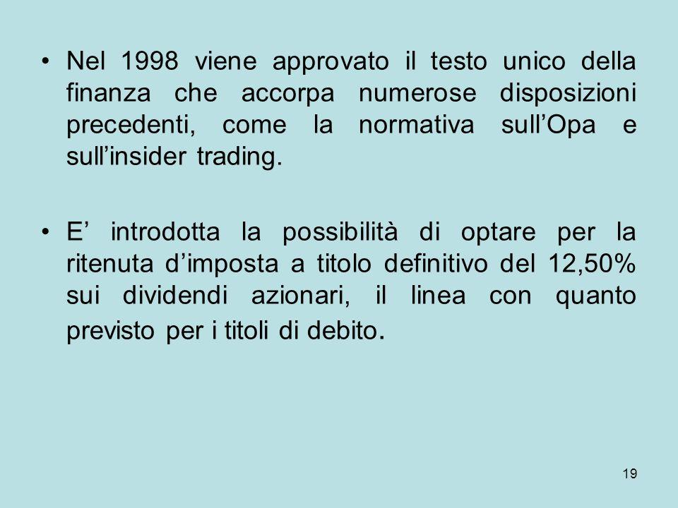 19 Nel 1998 viene approvato il testo unico della finanza che accorpa numerose disposizioni precedenti, come la normativa sullOpa e sullinsider trading