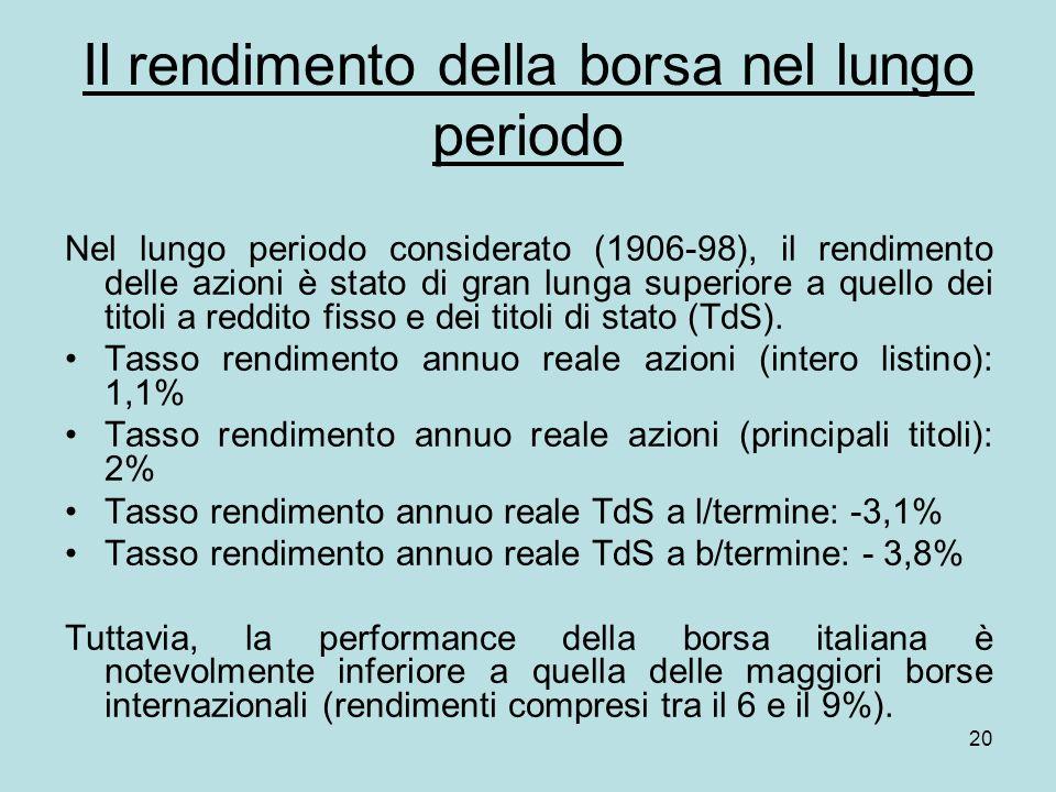 20 Il rendimento della borsa nel lungo periodo Nel lungo periodo considerato (1906-98), il rendimento delle azioni è stato di gran lunga superiore a quello dei titoli a reddito fisso e dei titoli di stato (TdS).