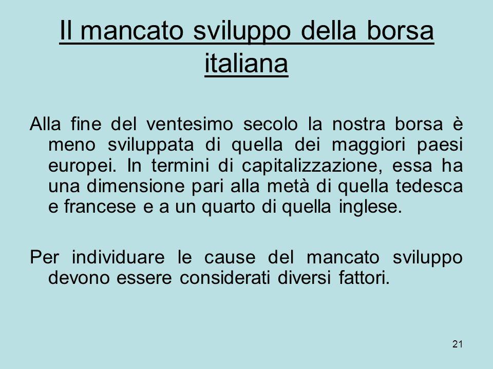 21 Il mancato sviluppo della borsa italiana Alla fine del ventesimo secolo la nostra borsa è meno sviluppata di quella dei maggiori paesi europei. In