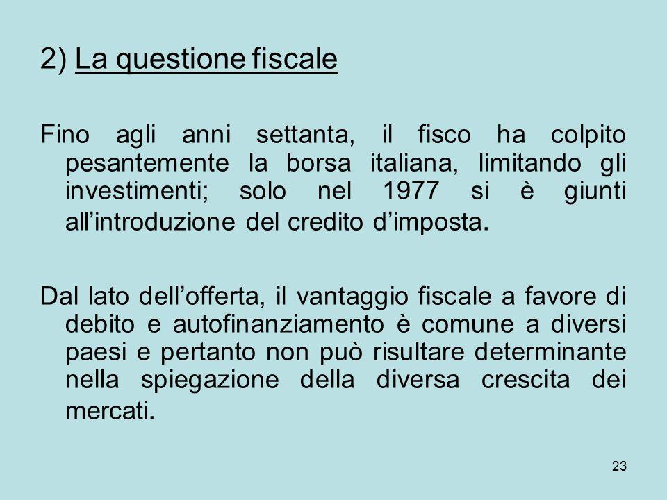23 2) La questione fiscale Fino agli anni settanta, il fisco ha colpito pesantemente la borsa italiana, limitando gli investimenti; solo nel 1977 si è giunti allintroduzione del credito dimposta.