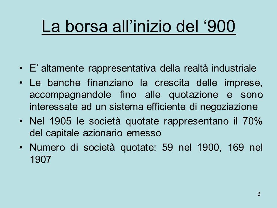 3 La borsa allinizio del 900 E altamente rappresentativa della realtà industriale Le banche finanziano la crescita delle imprese, accompagnandole fino