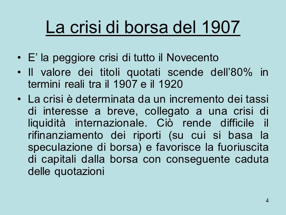 4 La crisi di borsa del 1907 E la peggiore crisi di tutto il Novecento Il valore dei titoli quotati scende dell80% in termini reali tra il 1907 e il 1920 La crisi è determinata da un incremento dei tassi di interesse a breve, collegato a una crisi di liquidità internazionale.