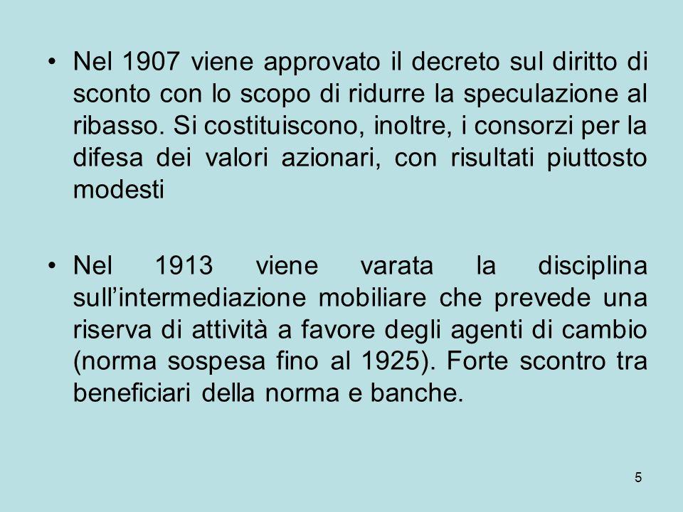 5 Nel 1907 viene approvato il decreto sul diritto di sconto con lo scopo di ridurre la speculazione al ribasso. Si costituiscono, inoltre, i consorzi