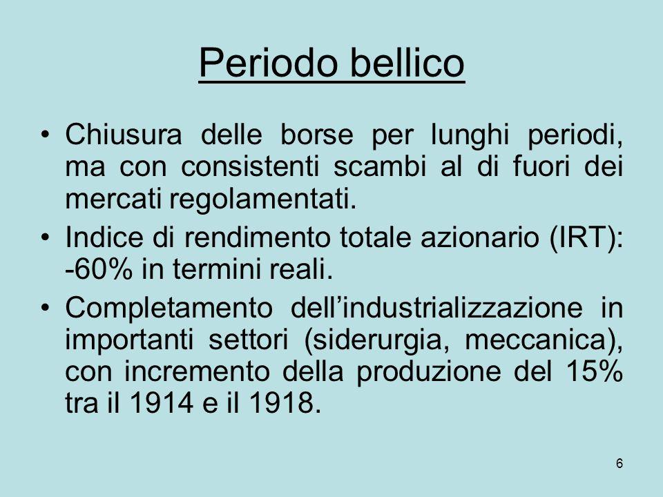 27 In definitiva, il mancato sviluppo del mercato borsistico italiano non è imputabile ad una singola causa, ma va ricercato nella sovrapposizione di diverse cause che hanno assunto intensità variabile nel tempo.