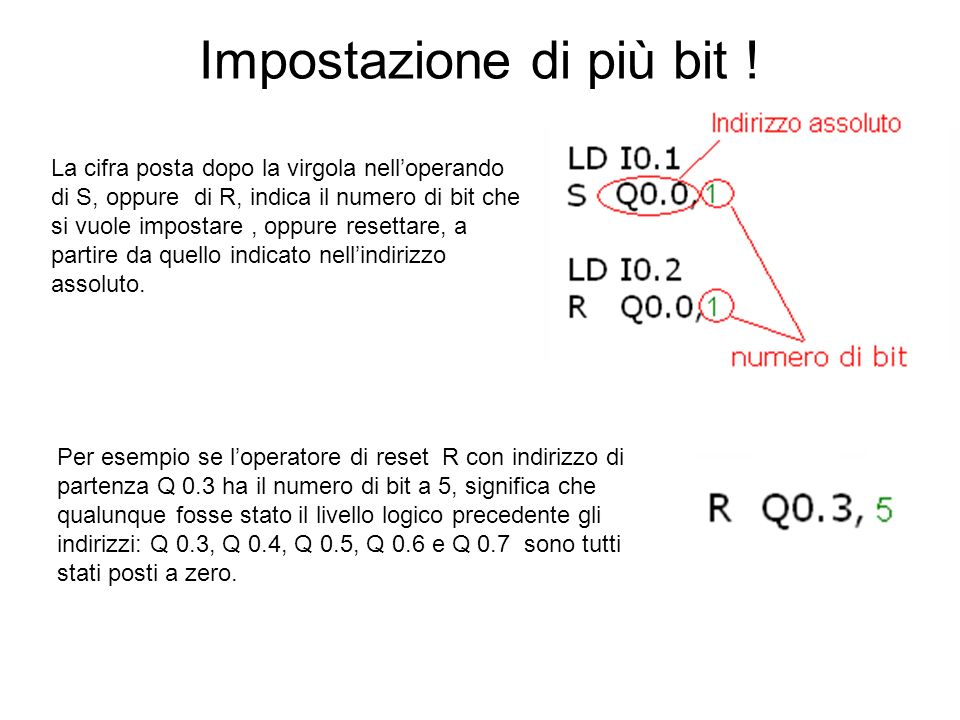 Impostazione di più bit ! La cifra posta dopo la virgola nelloperando di S, oppure di R, indica il numero di bit che si vuole impostare, oppure resett