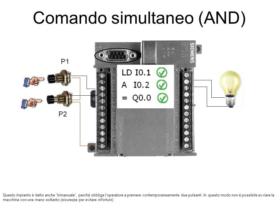 Comando simultaneo (AND) P1 P2 Questo impianto è detto anche bimanuale, perché obbliga loperatore a premere contemporaneamente due pulsanti. In questo