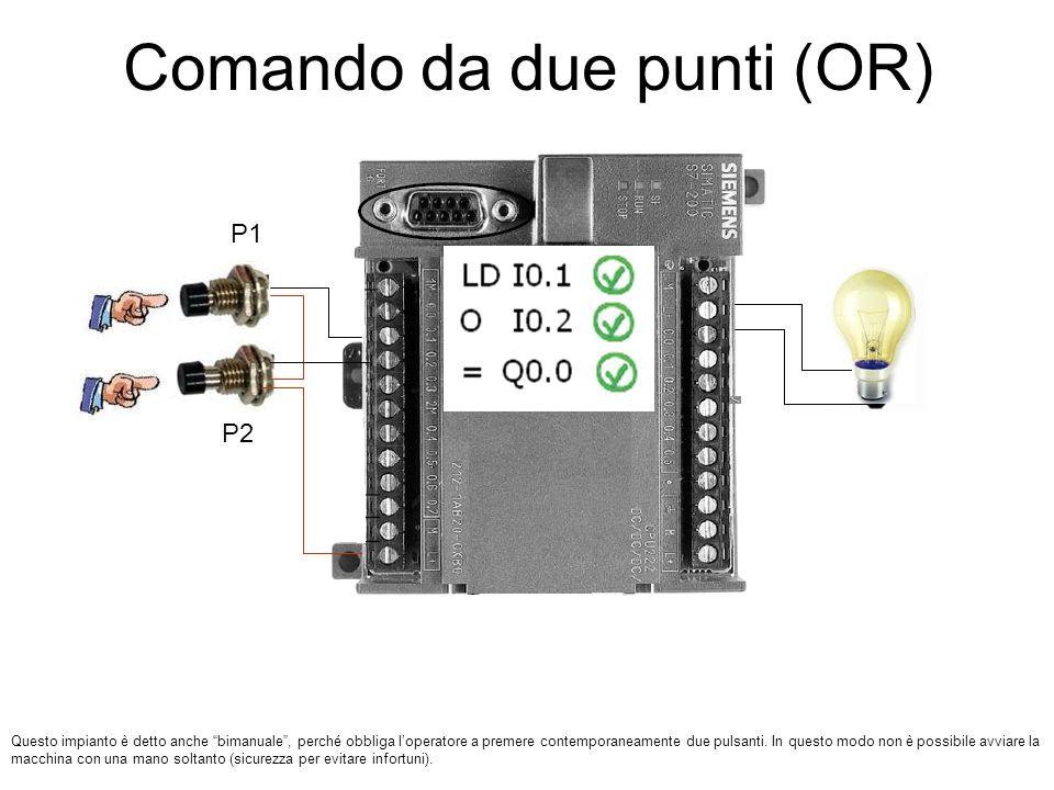 Comando da due punti (OR) P1 P2 Questo impianto è detto anche bimanuale, perché obbliga loperatore a premere contemporaneamente due pulsanti. In quest