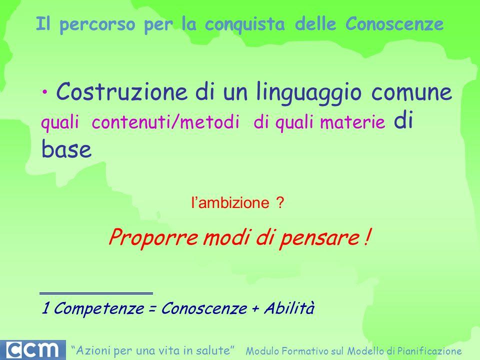 Il percorso per la conquista delle Conoscenze Costruzione di un linguaggio comune quali contenuti/metodi di quali materie di base 1 Competenze = Conos