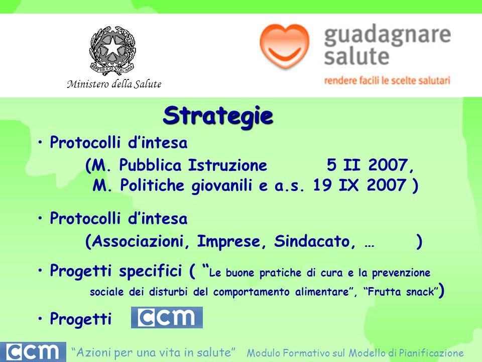 Strategie Protocolli dintesa (M. Pubblica Istruzione 5 II 2007, M. Politiche giovanili e a.s. 19 IX 2007 ) Protocolli dintesa (Associazioni, Imprese,