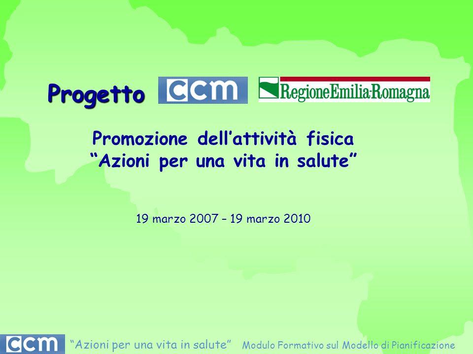 Progetto Promozione dellattività fisica Azioni per una vita in salute 19 marzo 2007 – 19 marzo 2010 Azioni per una vita in salute Modulo Formativo sul
