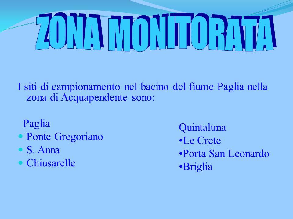 I siti di campionamento nel bacino del fiume Paglia nella zona di Acquapendente sono: Paglia Ponte Gregoriano S.