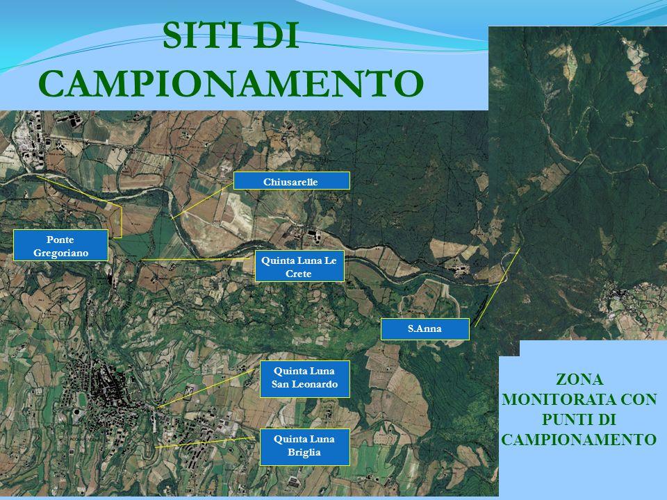 I siti di campionamento nel bacino del fiume Paglia nella zona di Acquapendente sono: Paglia Ponte Gregoriano S. Anna Chiusarelle Quintaluna Le Crete