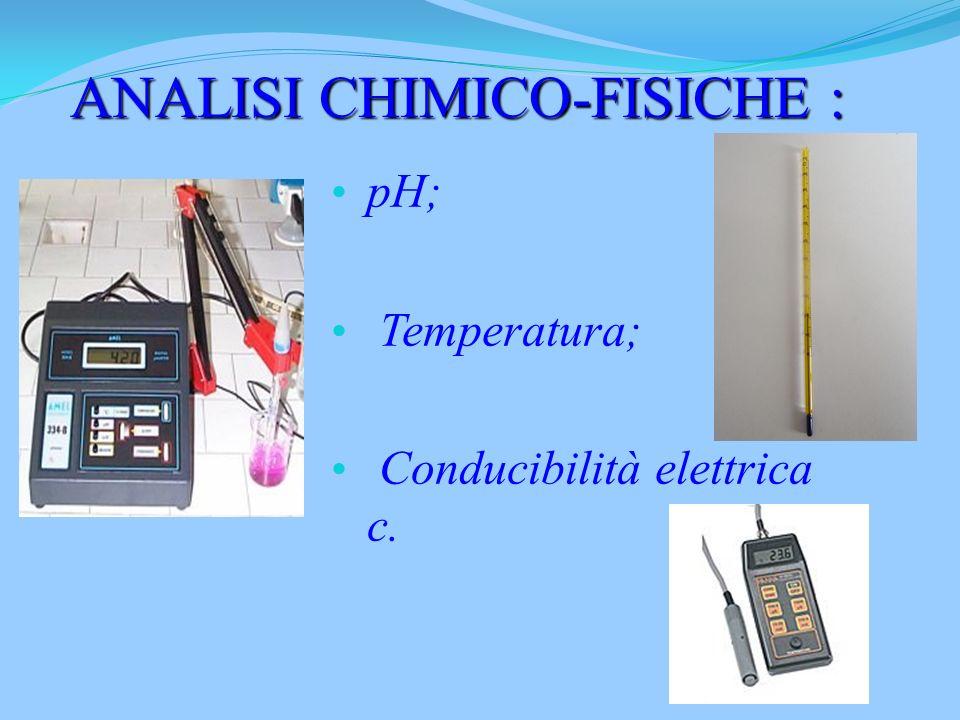pH; Temperatura; Conducibilità elettrica c. ANALISI CHIMICO-FISICHE :