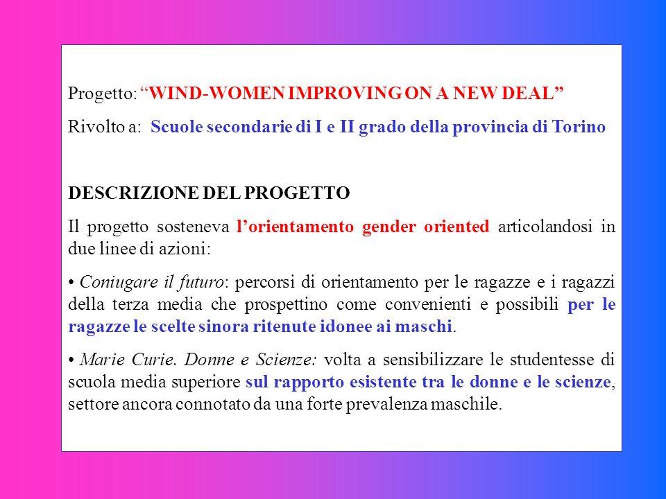 Progetto: WIND-WOMEN IMPROVING ON A NEW DEAL Rivolto a: Scuole secondarie di I e II grado della provincia di Torino DESCRIZIONE DEL PROGETTO Il proget
