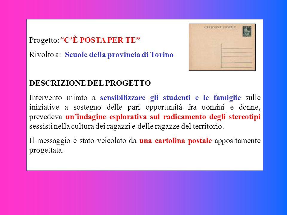 Progetto: CÈ POSTA PER TE Rivolto a: Scuole della provincia di Torino DESCRIZIONE DEL PROGETTO Intervento mirato a sensibilizzare gli studenti e le fa