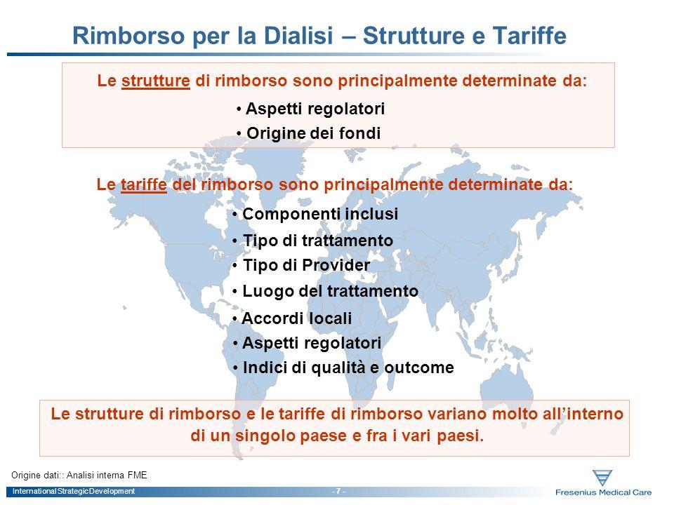 International Strategic Development - 7 - Rimborso per la Dialisi – Strutture e Tariffe Le strutture di rimborso e le tariffe di rimborso variano molt