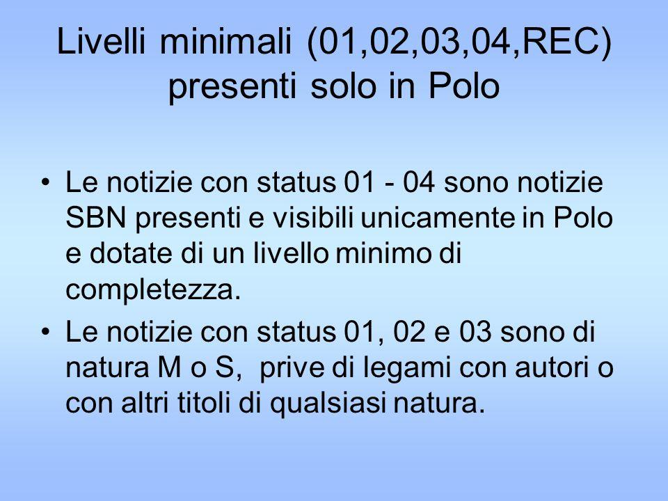 Livelli minimali (01,02,03,04,REC) presenti solo in Polo Le notizie con status 01 - 04 sono notizie SBN presenti e visibili unicamente in Polo e dotate di un livello minimo di completezza.