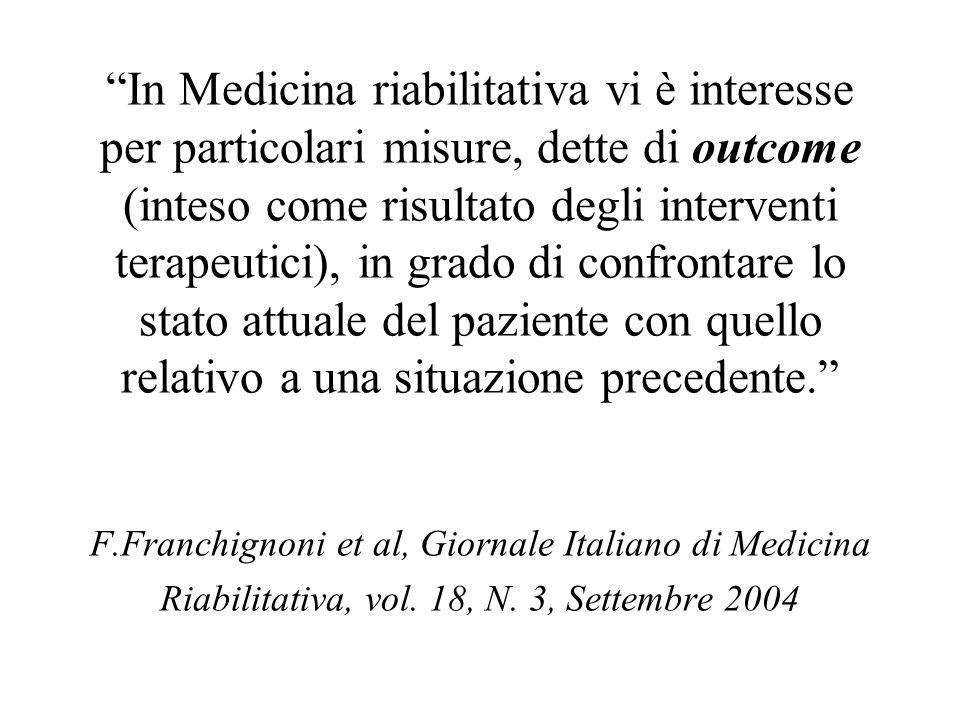 In Medicina riabilitativa vi è interesse per particolari misure, dette di outcome (inteso come risultato degli interventi terapeutici), in grado di co