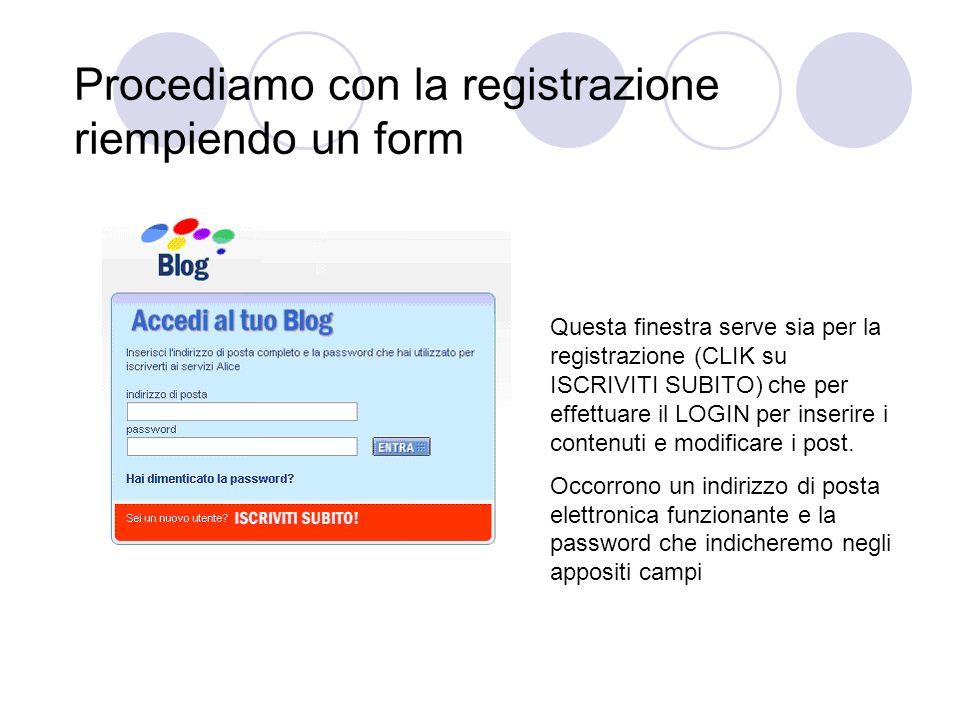 Procediamo con la registrazione riempiendo un form Questa finestra serve sia per la registrazione (CLIK su ISCRIVITI SUBITO) che per effettuare il LOGIN per inserire i contenuti e modificare i post.