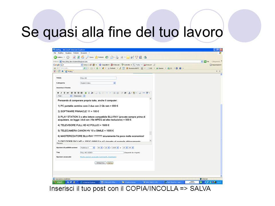 Se quasi alla fine del tuo lavoro Inserisci il tuo post con il COPIA/INCOLLA => SALVA