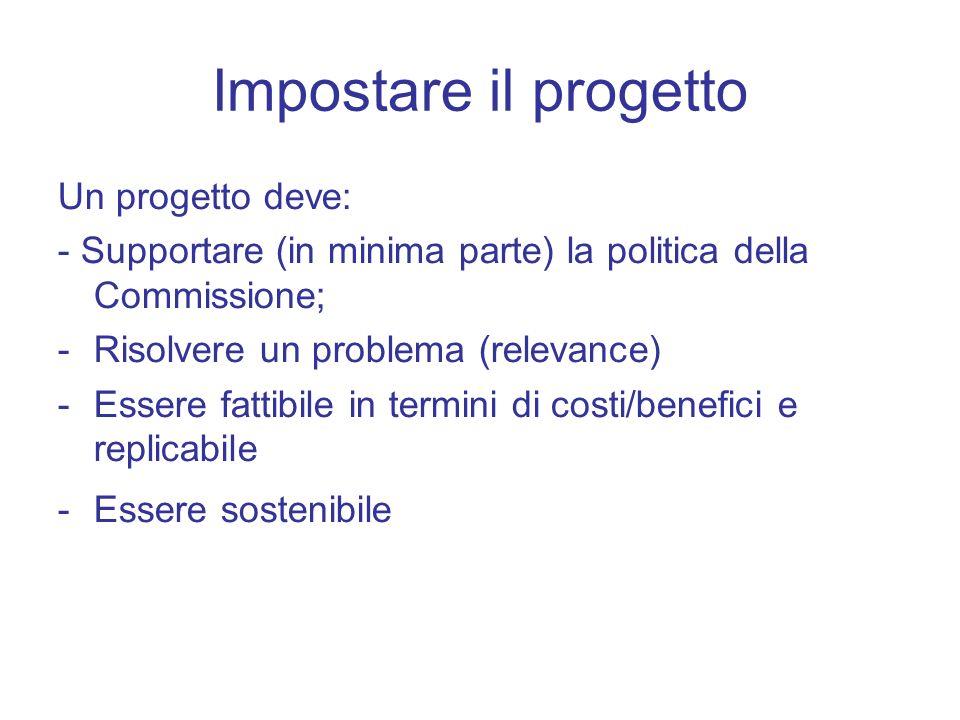 Impostare il progetto Un progetto deve: - Supportare (in minima parte) la politica della Commissione; -Risolvere un problema (relevance) -Essere fatti
