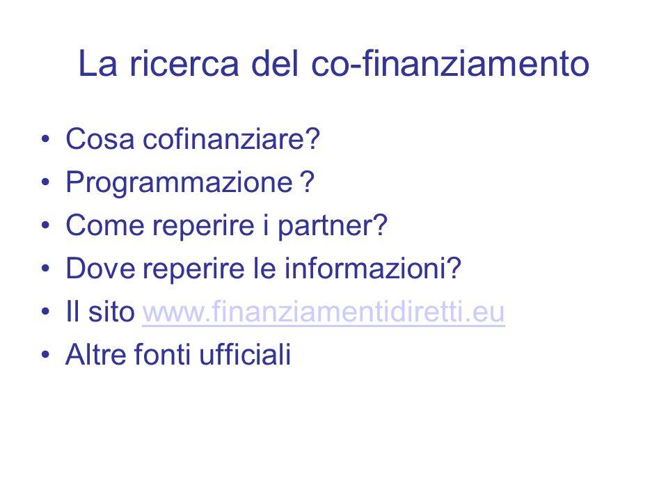 La ricerca del co-finanziamento Cosa cofinanziare? Programmazione ? Come reperire i partner? Dove reperire le informazioni? Il sito www.finanziamentid