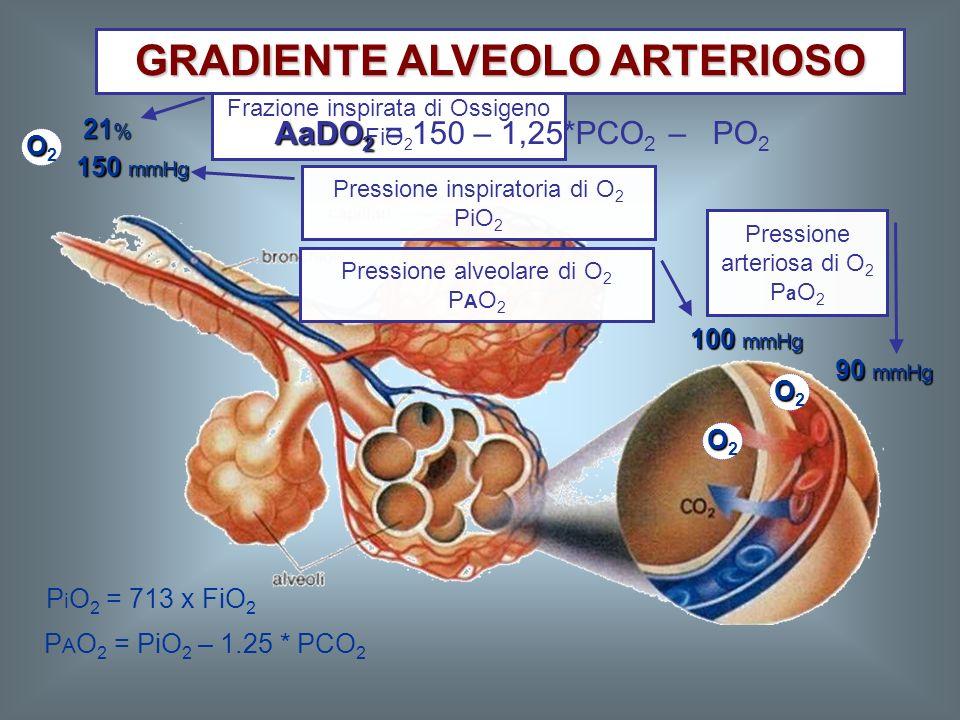 21 % P i O 2 = 713 x FiO 2 P A O 2 = PiO 2 – 1.25 * PCO 2 OO2OO2 OO2OO2 OO2OO2 150 mmHg 100 mmHg Frazione inspirata di Ossigeno FiO 2 Pressione inspir