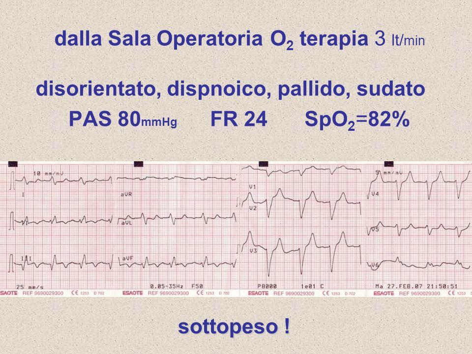 dalla Sala Operatoria O 2 terapia 3 lt/ min disorientato, dispnoico, pallido, sudato PAS 80 mmHg FR 24 SpO 2 =82% sottopeso !