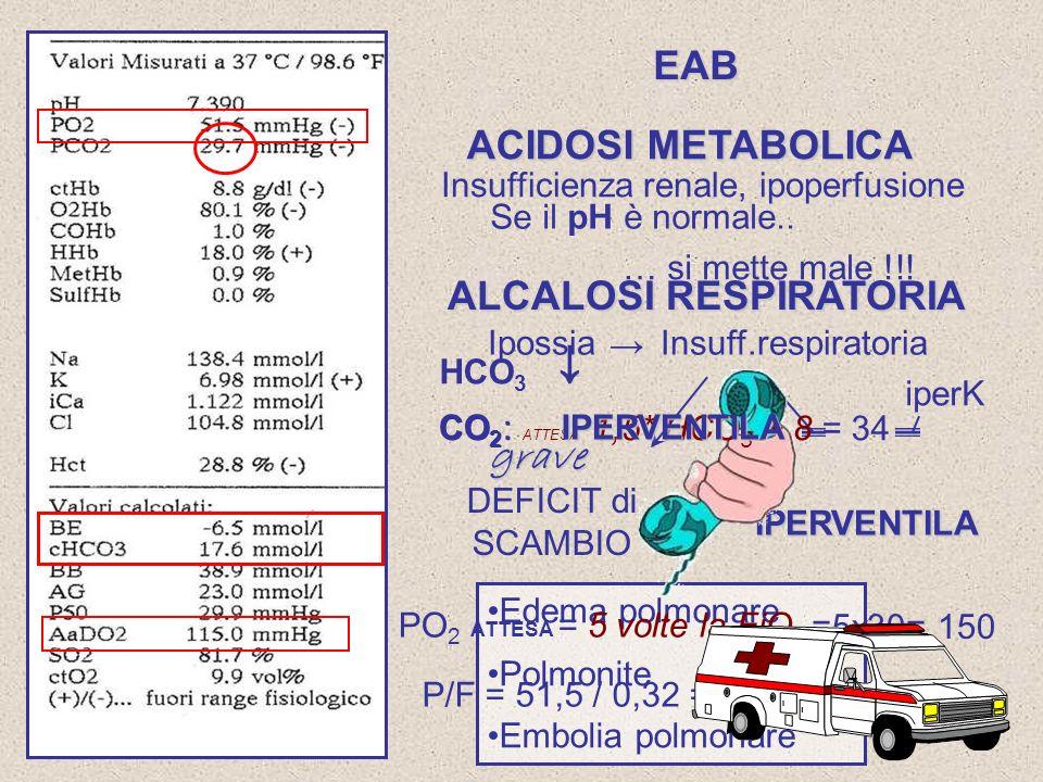 ACIDOSI METABOLICA ALCALOSI RESPIRATORIA Insufficienza renale, ipoperfusione IpossiaInsuff.respiratoria Deficit di ventilazione CO 2 iperK IPERVENTILA