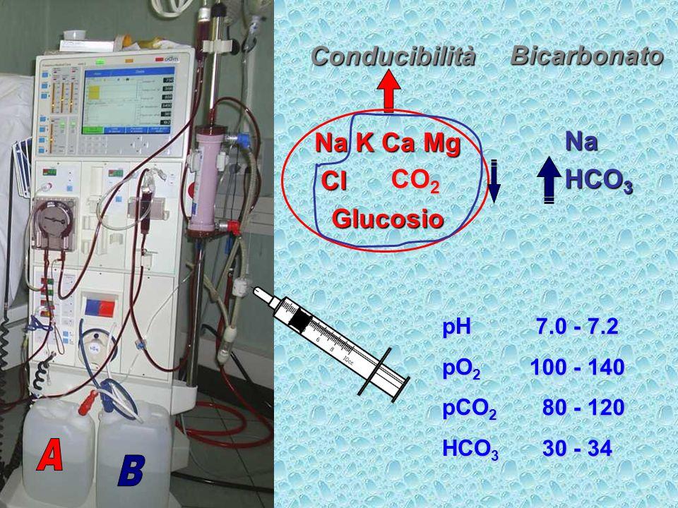 Na HCO 3 Na K Ca Mg Cl acetato Cl acetatoGlucosio Conducibilità Bicarbonato pH 7.069 pO 2 141.3 pCO 2 108.2 HCO 3 30.6 7.0 - 7.2 100 - 140 80 - 120 80