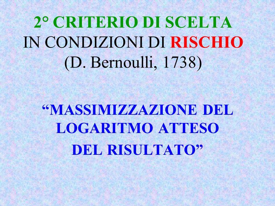 2° CRITERIO DI SCELTA IN CONDIZIONI DI RISCHIO (D. Bernoulli, 1738) MASSIMIZZAZIONE DEL LOGARITMO ATTESO DEL RISULTATO
