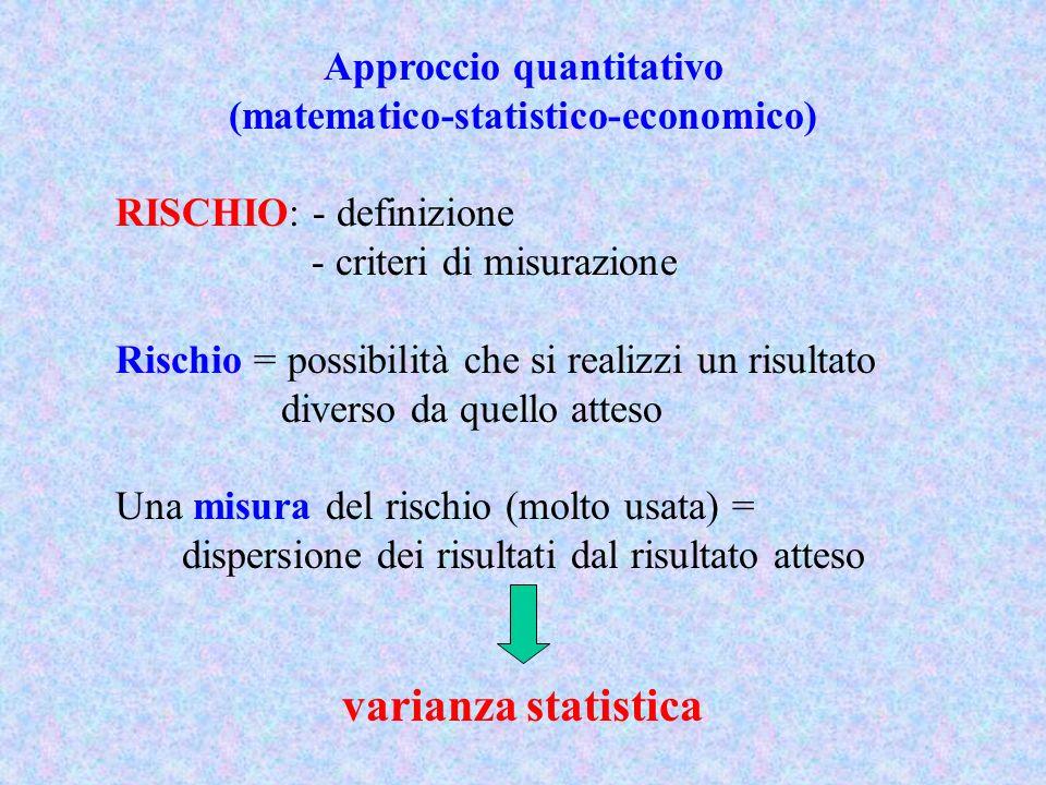 Approccio quantitativo (matematico-statistico-economico) RISCHIO: - definizione - criteri di misurazione Rischio = possibilità che si realizzi un risu