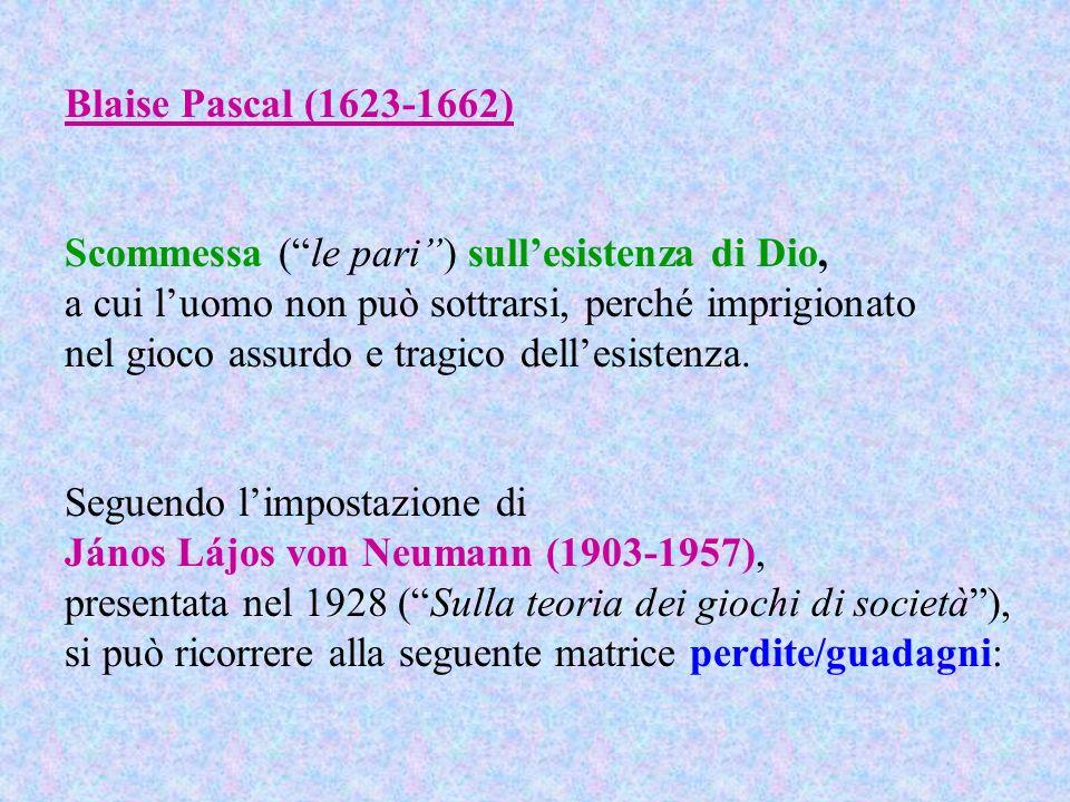 Blaise Pascal (1623-1662) Scommessa (le pari) sullesistenza di Dio, a cui luomo non può sottrarsi, perché imprigionato nel gioco assurdo e tragico del